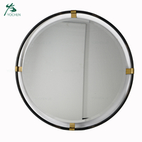 shabby chic vintage home decor black metal round mirror