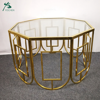 hexagon shape stainless steel glass top modern side table
