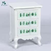 modern french style furniture pattern print glass decorative white wood cabinet