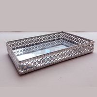 Garden Decor Sundries Vintage-Look Silver Metal Tray
