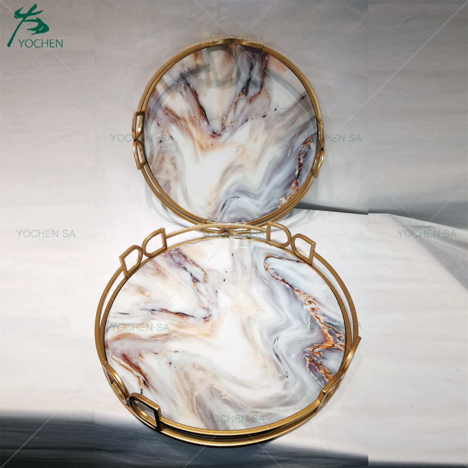 Gold Framed Metal Round Marble Effect Serving Tray with Handle
