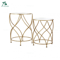 Coffee Table Decorative Gold Metal Round Side Table