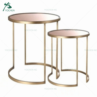 Rose gold glass metal center small round coffee table