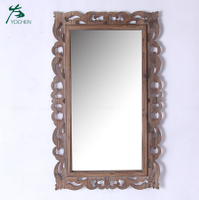 Wholesale wooden creative wall mounted mirrors decor wall