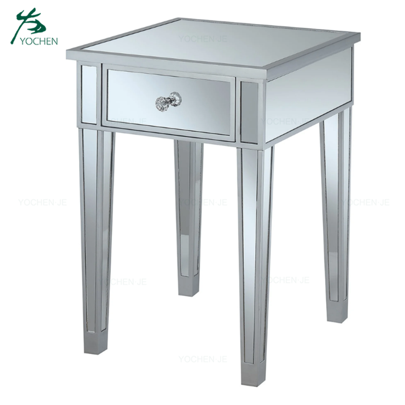 modern living room furniture silver mirrored nightstand end table