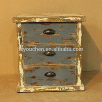 rustic vintage mini wood chest with 3 drawers