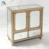 Antique Mirrored 4 Drawer Bedside Table Cabinet