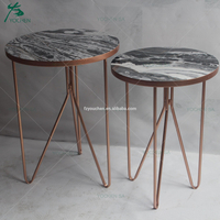 Simple Nested Side Table Faux Marble Top Living Room Furniture