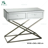 2 Drawer Stainless Steel Legs Mirrored Console Table
