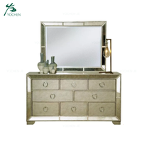 Home Furniture Vintage Gold Dresser and Mirror
