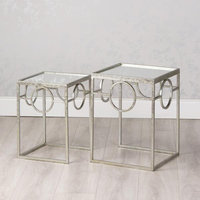 Living Room Silver Avery Side Tables with Mirror details Glass Coffee Table