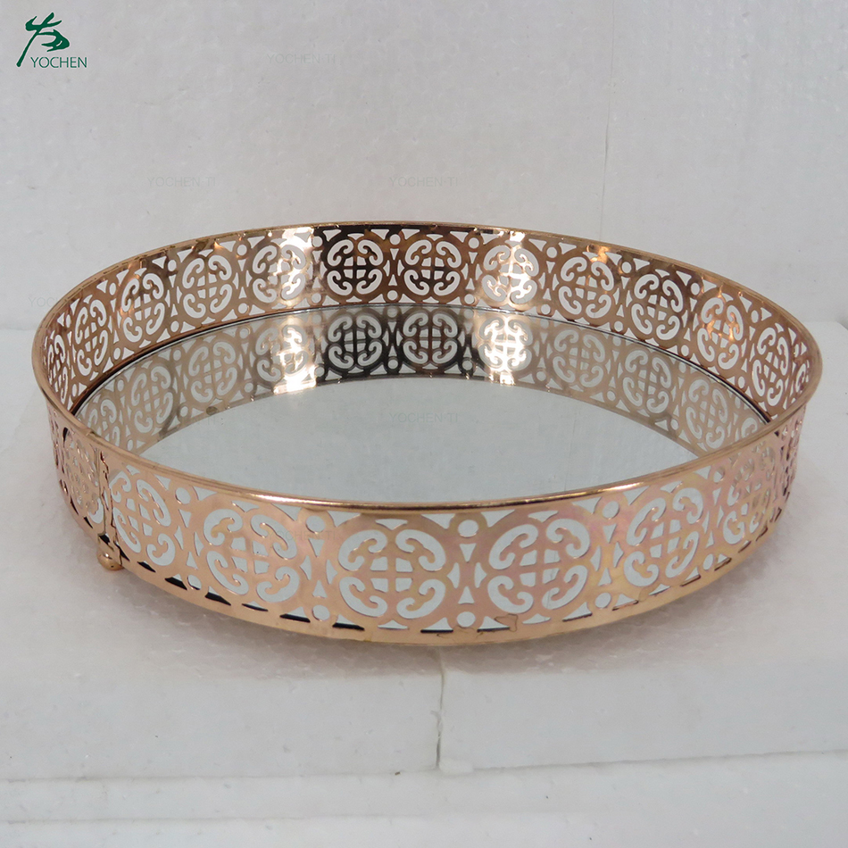 Round Mirrored Tray Circle Mirrored Decorative Tray