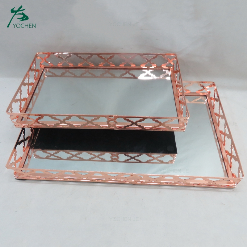Wholesale food mirror tray serving metal tray