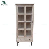 Reproduction style industrial wooden wine antique storage cabinet