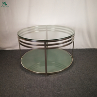 Factory Price Round Glass Top Metal Frame Side Tea Table Coffee Table