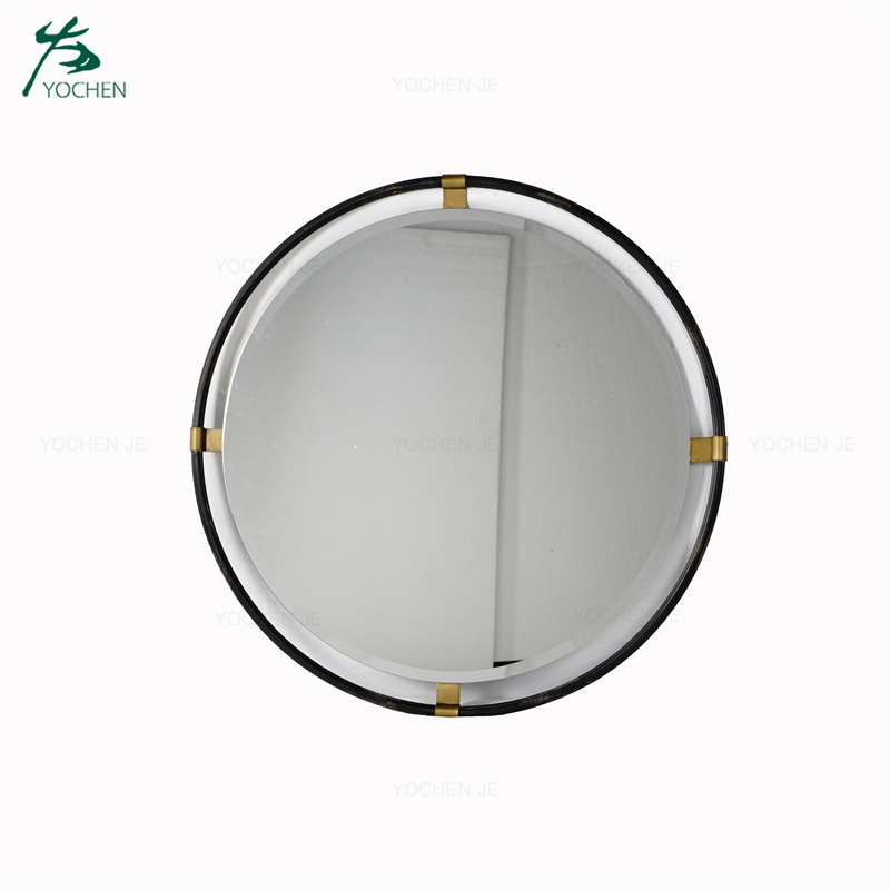 Cheap black wrought iron frame decoration antique mirror glass