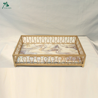 Customized Hotsale Luxury Rectangle Marble Tray Fruit Plate Metal Service Tray Gold Plated