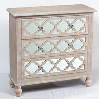 Lattice Whitewash Mirrored Wood 3 drawer chest