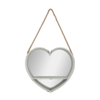 Heart shape hanging wooden decorative wall mirror