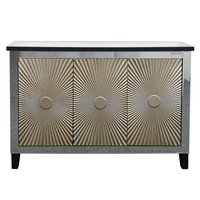 3 door MDF wood carved mirrored sideboard